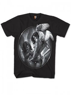 """Tattin Angels"" Men's Tee by OG Abel #inked #inkedmag #inkedshop #tattoo #tshirt #black #mens #clothing #apparel #ink #tattoo"