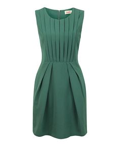 Green Pleat Renn Sleeveless Dress