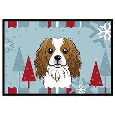 """Caroline's Treasures Winter Holiday Cavalier Spaniel Doormat Rug Size: 1'6"""" x 2'3"""""""