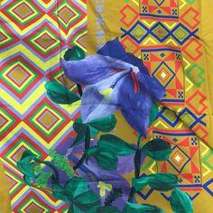 Another detail of my new collection Mónica ' Sweden meet Colombia' blåklocka with Colombian leaves, Swedish and Colombian weave patterns. #lottihaeger #architecture #arquitectura #casa #color #colour #couleur #design #diseño #decoración #decoration #färg #fabric #furniture #hem #home #inredning #interiordesign #maison #meuble #möbler #patrones #patterns #papierpeint #telas #tyger #tissus #textiles #wallpaper