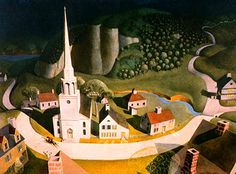 """Paul Revere's Ride, a personal Favorite, by Grant Wood. Grant Wood is also known for his iconic painting, """"American Gothic"""" Paul Revere, American Gothic, American Story, Grant Wood Paintings, Oil Paintings, Watercolor Paintings, Artist Grants, Pictures Of America, Landscape Arquitecture"""
