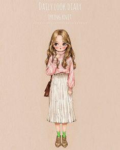 """애뽈(aeppol) """"Daily look. Watercolor Girl, Forest Girl, Pastel Art, Daily Look, Cute Illustration, Anime Art Girl, Fashion Sketches, Cute Drawings, Paper Dolls"""