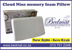 Now R580 - You SAVE R140 !! Only current stock on premises are eligible for sale. #bedmat #cloudmine #memoryfoam #pillow Bed and Mattress shop