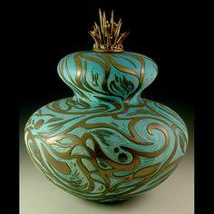 """Oceana"" porcelain vessel with ceramic urchin top with metallic glaze by Natalie Blake"