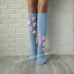 Items similar to Flower sock. Wool socks with flowers. Hand made socks with pink Flowers. on Etsy Baby Afghan Crochet Patterns, Crochet Kids Scarf, Crochet Beanie Pattern, Crochet Socks, Knitting Socks, Crochet Baby, Hand Knitting, Knit Crochet, Knit Socks