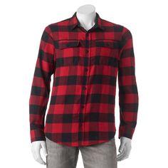 Men's Burnside Plaid Flannel Button-Down Shirt, Size: