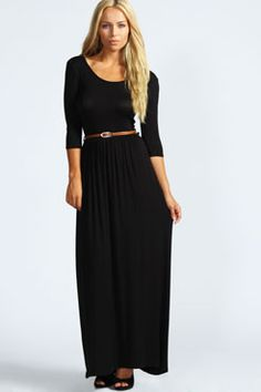 Sophia Scoop Neck Elasticated Waist Maxi Dress at boohoo.com Essential basic maxi for the beach