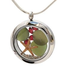 Holly TIme - Olive Green Sea Glass With Starfish, Ruby Gems & Real Sand Locket