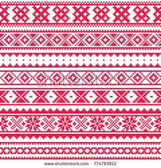 Lapland traditional red folk art design, Sami vector seamless pattern, Scandinavian, Nordic background - Buy this stock vector and explore similar vectors at Adobe Stock Scandinavian Pattern, Scandinavian Folk Art, Inkle Loom, Pixel Design, Make Do And Mend, Tablet Weaving, Weaving Patterns, Background Patterns, Pattern Art