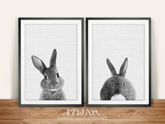 ❤️ Buy 3 or more prints and get 30%OFF ❤️+ This listing is for a set of TWO printable designs - the bunny facing forward, and the bunny butt! This listing is for an INSTANT DOWNLOAD of the JPEG file (PDF available upon request). Just purchase any listing and your print is ready to download