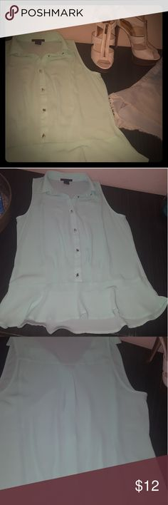 Imaginary Voyage blouse New. Never used. Beautiful and delicate mint colored blouse. Perfect attire paired with your fave skinny jeans or shorts and sexy heels.   See 4th picture for more item details. Imaginary Voyage Tops
