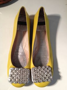 Kate Spade Leather 'Party' Jeweled Flat Yellow Rhinestone