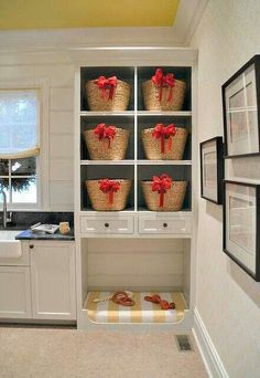 2013 Atlanta Homes & Lifestyles Home for the Holidays. Karen Ferguson from Harrison Design Associates designed this room. Harrison Design Associates selected all of the interior finishes for the house, and I was particularly taken with the floor of this l Built In Dog Bed, Laundry Shelves, Laundry Baskets, Cat Shelves, Do It Yourself Design, Harrison Design, Murphy Bed Plans, Dog Rooms, Atlanta Homes
