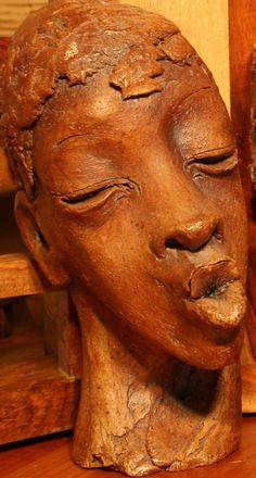 Ceramic Emotion sculpture by artist Paul Hardcastle titled: 'Ceramic Singing (Portrait Head Terra Cotta statues)' #sculpture #art