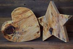 Holz Deko - Herz und Stern