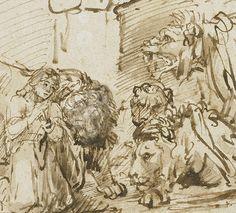 Daniel in the Lions' Den (detail) / Rembrandt
