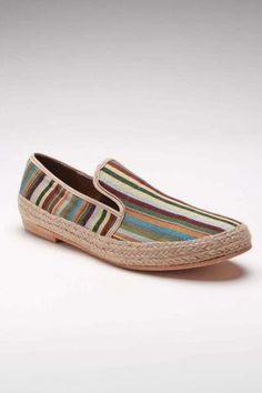 JD FISK Jeeves Striped Canvas Shoe Green