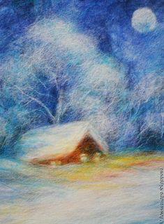 картина шерстью Зимний вечер