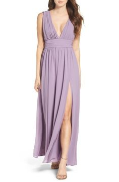 Lulus Plunging V-Neck Chiffon Gown available at #Nordstrom