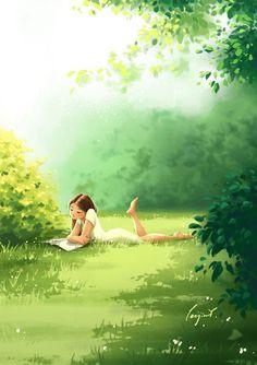 Cartoon Kunst, Cartoon Art, Art And Illustration, Frühling Wallpaper, Digital Art Girl, Anime Scenery, Summer Art, Anime Art Girl, Anime Girls