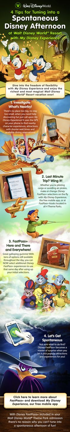 4 Tips for a last minute Walt Disney World vacation! Learn about FastPass+ and My Disney Experience with characters from Duck Tales, Rescue Rangers, Talespin, Gummi Bears and Darkwing Duck!