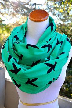 Black Bird Emerald infinity Scarf on soft Jersey knit-Ready to ship on Wanelo