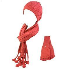Ladies 3pc Winter Soft Knit Beanie Hat Long Scarf Flip Cover Gloves Set Pink S/M. More description on the website.