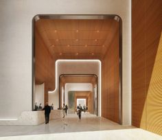 55 Hudson Yards Designed As 'A Basic, Fundamental Sculpture' - Hudson Yards Watch - Curbed NY Office Space Design, Modern Office Design, Modern Interior Design, Modern Offices, Lobby Lounge, Hotel Lobby, Yard Design, House Design, Design Design