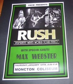 RUSH Concert Poster Permanent Waves World Tour 1980 A3 Size repro