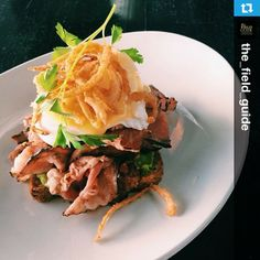 Chef's breakfast pastrami on toast, avocado, poached egg, Parmesan, crispy onions - Local Lounge & Grille - Summerland, BC - chef Lee Humphries