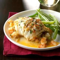 Flounder with Shrimp Stuffing Flounder with Shrimp Stuffing Recipe -The delicious shrimp-herb stuffing makes this fish recipe company-special. But it really isn't hard to make. Our family enjoys fish, and we eat it often. —Marie Forte, Raritan, New Jersey Flounder Recipes, Shrimp Recipes, Copycat Recipes, Fish Recipes, Salad Recipes, Fish Dinner, Seafood Dinner, Fish And Seafood, Gastronomia