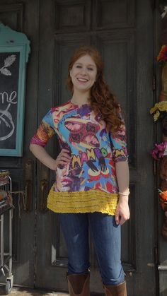 How festive is this bright multi-colored tshirt with its mambo / Carmen Miranda theme? And the added yellow mult-ruffle is perfect to continue that theme! Features a scoop neck and three quarter sleeves. Unless youre petite, itll run a bit shorter than most of my shirts and might be better with jeans than leggings. All my items are one-of-a-kind and ready to ship. Materials are generally all upcycled, although some new embellishments may be rarely added. Garments will never be stained or…