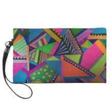 Color abstract patterns and shapes wristlet clutches