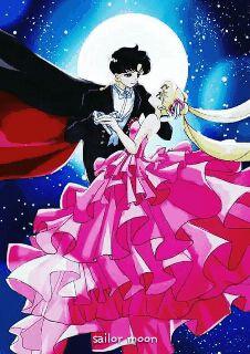 Usagi and Mamoru as bride and groom