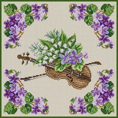 Violin & Violets Cross Stitch Bird, Simple Cross Stitch, Cross Stitch Flowers, Cross Stitching, Cross Stitch Embroidery, Hand Embroidery, Embroidery Transfers, Embroidery Patterns Free, Cross Stitch Patterns
