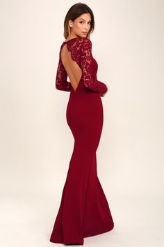 Wine Red Lace Maxi Dress - sheer eyelash lace tops a darted sweetheart bodice, long sleeves, and sexy open back (with hidden V-bar and button closure at top). Fitted waist tops a stretchy, mermaid maxi skirt. Floral Print Maxi Dress, Lace Maxi, Maxi Dress With Sleeves, The Dress, Dress Long, Sleeve Dresses, Burgundy Maxi Dress, Burgundy Bridesmaid Dresses, Bridesmaid Color