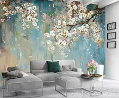 Bedroom Murals, Bedroom Decor, Design Bedroom, Living Room Bedroom, Living Room Decor, Living Room Murals, Living Rooms, Living Spaces, Mural Floral