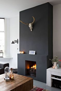 Modern Living Room Fireplace: Design Ideas To Steal Living Room With Fireplace, Living Room Paint, Living Room Decor, Living Rooms, Style At Home, Classic Fireplace, Fireplace Remodel, Family Room Design, Fireplace Design