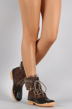 Buckled Faux Fur Cuff Lace Up Duck Ankle Boots | UrbanOG