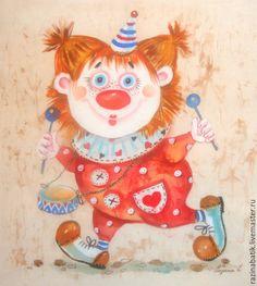 Купить Рыжий клоун ( батик панно) - ярко-красный, клоун, цирк, Праздник, дети