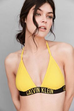 Calvin Klein Yellow Triangle Bikini Top