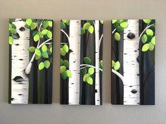 Extra grande Aspen árbol pintura tríptico30 x por MurrayDesignShop