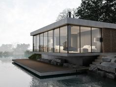 Concrete by the water.