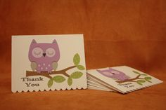 Owl Apple Bird Purple Silver CARDS Thank You / Invitation, Birthday, Party, Shower, Cake, Decoration: Handmade Paper Decorations & Signs