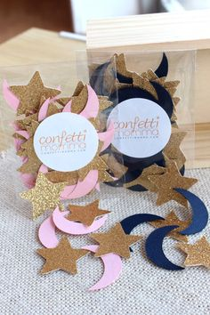 What better way to celebrate your child than with precious moon and stars confetti? With baby pink or navy blue color options, this decoration is wonderful for any birthday party or baby shower. Choose gold and ivory colors to make this perfect for weddings or engagement parties too!  This 2.5 x 3.5 packet contains 25 stars and 25 moons  Each star and moon is approximately 1.25 tall  Click here for more twinkle twinkle little star party products…