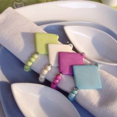 Rond de serviette Kyrielle turquoise