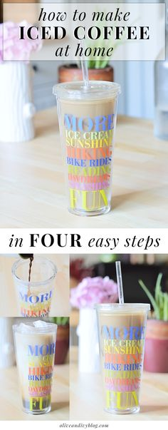 """How to make iced coffee at home - these instructions are SO easy and foolproof, never end up with watery, lukewarm """"iced"""" coffee again! 