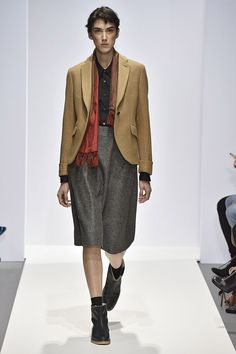 At Margaret Howell  AW16,  Shirt collars are super-pointy, winter shorts are a thing and there's a crepe-soled brogue