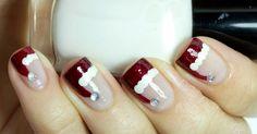 santa nail art, santa hat nail art, christmas nail art, santa nail design,