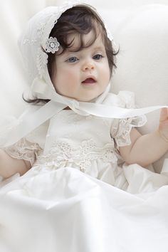 Sweet little baby in our Isabella Christening gown and bonnet Baby Girl Christening Outfit, Baby Girl Baptism, Christening Gowns Girls, Cute Kids Photos, Cute Baby Girl Pictures, Baby Girl Images, Cute Little Baby Girl, Cute Babies Photography, Cute Baby Wallpaper